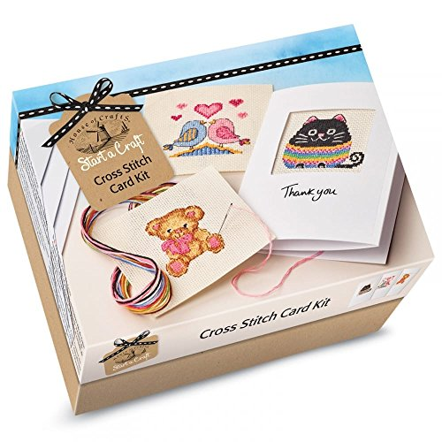 House Of Crafts Cross Stitch Card Kit Starter Craft Sew 3 Greetings Cards