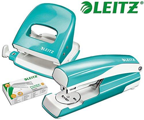 Leitz 5008 NeXXt Series WOW Bürolocher, Metall, bis zu 30 Blatt / Kombi-Set mit Heftgerät + 1000 Klammern extra (Eisblau Metallic)