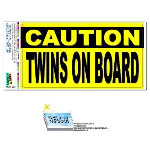 Vorsicht Twins On Board Slap-Stickz Aufkleber Automotive Auto Fenster Spind Bumper Kofferraum Aufkleber