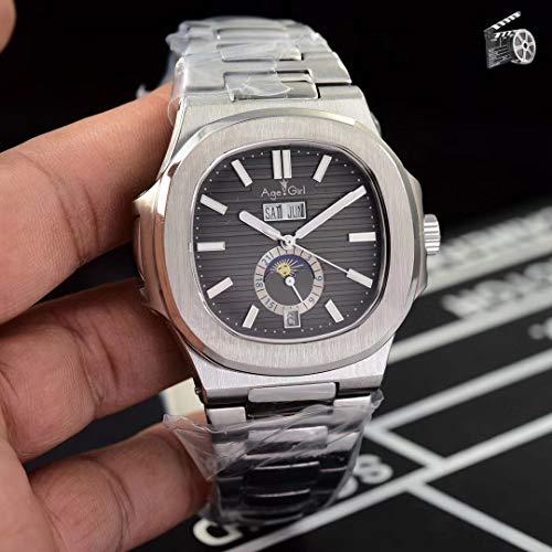 KLMADSB Armbanduhr Herren Uhren Luxusmarke New Automatic Mechanical Herrenuhr Sapphire Perpetual Calendar Transparent Silber Mondphase Uhr Schwarz Grau AAA + Grau