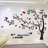 Warmcasa Stickers Autocollants Muraux 3D en Acrylique Arbre avec des Branches Incurvées et des Cadres de Photo et des Oiseaux (L, Rouge vers Gauche)