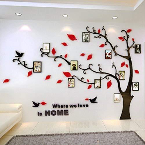Warmcasa adesivi da parete in acrilico a vita d'albero con cornici per foto di diverse dimensioni adesivi murali nero tronco e rosse foglie a sinistra l