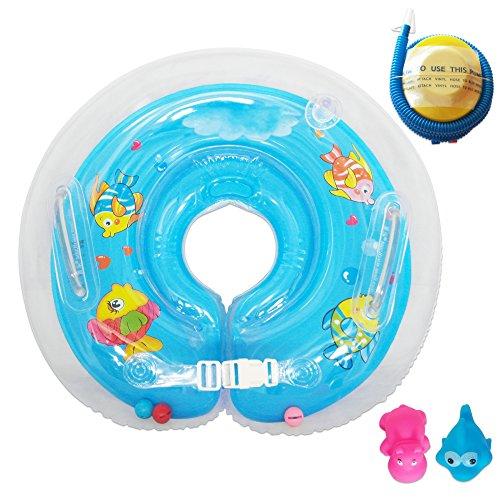 Raintwo Blau Kinder Schwimmring Schwimmreifen für Hals Schwimmhilfe für 3-36 Monate Baby Säugling mit 2 Stück Squeaky Spielzeug Und eine Fußluftpumpe