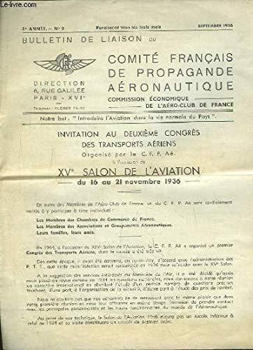 Bulletin de Liaison du Comité Français de Propagande Aéronautique N°9 - 3e année