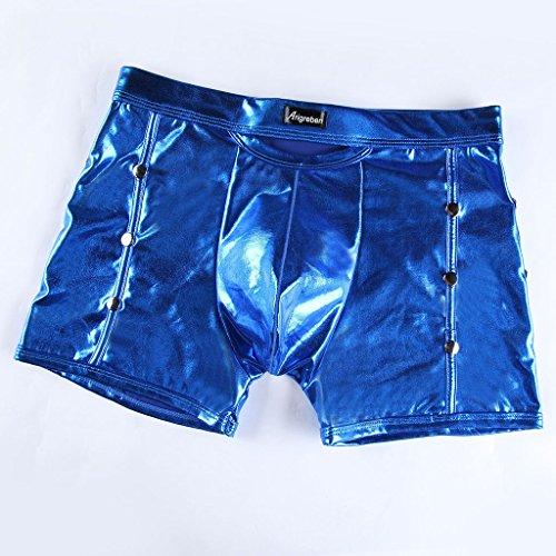 Gazechimp Herren Boxershorts Wetlook Unterwäsche Trunks Stretch Boxer Briefs reizvolle Badehose Blau