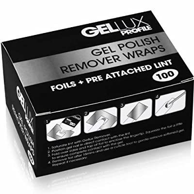 Salon System Gellux Profile Gel UV Polish Remover Wraps Foils Plus Pre Attached Pads Box of 100 Sheets