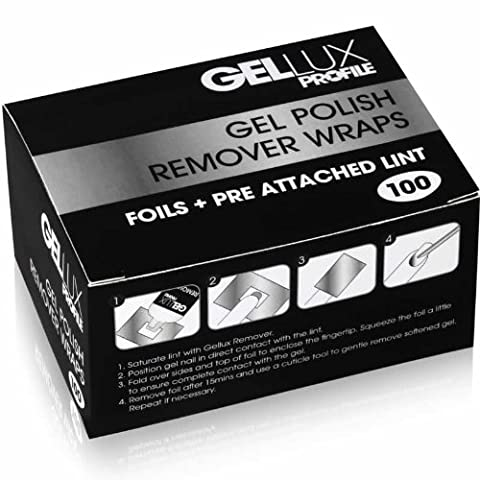 Salon System Gellux Profil Gel UV Polish Remover Wraps Folien Plus Pre befestigt Pads Box von 100Blatt