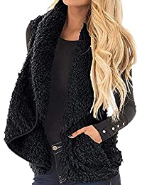 Sunmiy Chaleco Cardigan para Mujer Casual Turn-Down Collar sin Mangas sólido Coat Chalecos