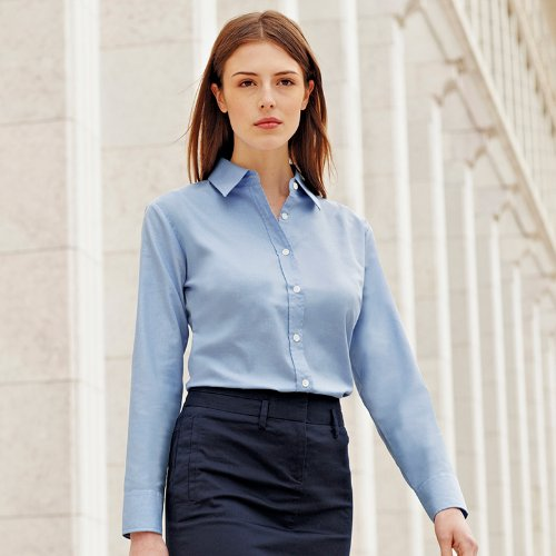Fruit of the Loom Ladyfit Oxford Langarm-Shirt Blau - Bleu - Oxford Blue