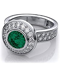 Naitik Jewels 92.5 Sterling Silver Emerald Bezel Set And White Diamond Engagement Ring For Women