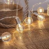 EONHUAYU Birne Lichterketten, 1.3M 10 LED Plastikkugel-Fee-Schnur Beleuchtet Klare Birnen-Innenbeleuchtung im Freien Warmes Weiß