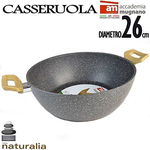 Casseruola in pietra antiaderente 26 cm 2 manici bakelite effetto legno linea naturalia accademia mugnano