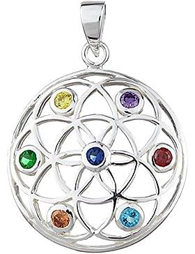 Blume des Lebens Anhänger 925 Silber mit 7 Chakra / Feuersteine (30mm breit) Motiv 1