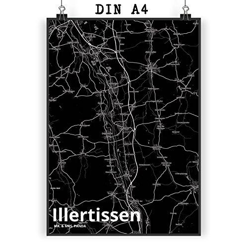 Mr. & Mrs. Panda Poster DIN A4 Stadt Illertissen Stadt Black - Stadt Dorf Karte Landkarte Map Stadtplan Wandposter, Geschenk, Fan, Fanartikel, Souvenir, Andenken, Fanclub, Stadt, Mitbringsel