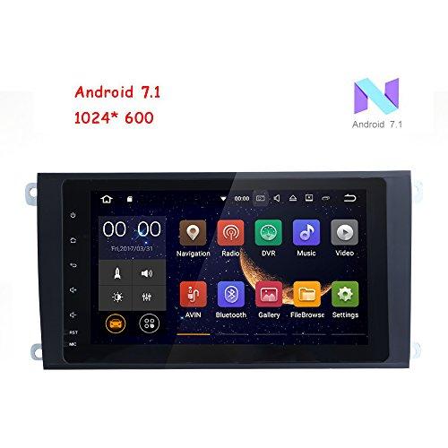 Freeauto für Porsche Cayenne 20,3 cm 2 DIN Android 7.1 Quad Core Auto Stereo 1024 HD Touchscreen Autoradio Receiver GPS Navigation inkl. Mikrofon + 8 GB Karte-Karte hinten Kamera