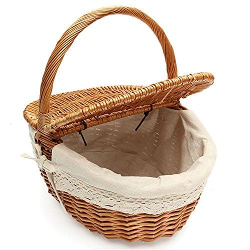 Cesta picnic mimbre hecha mano Cesta almacenamiento