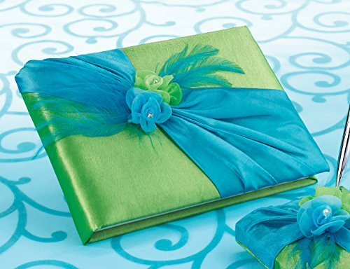 Lillian Rose Guest Book, 8.5-Inch, Blue and Green by Lillian Rose (Rose Guest Lillian Book)