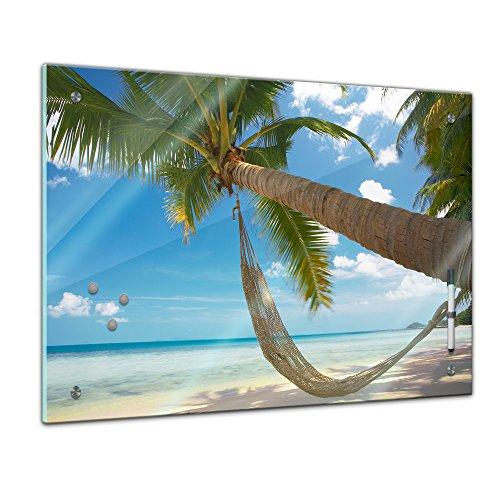 Bilderdepot24 Memoboard 60 x 40 cm, Sommer, Sonne & Urlaub - Palme mit Hängematte - Memotafel Pinnwand - Insel - Tourismus - Urlaub - Travel - Küche - Esszimmer - Glasbild - Handmade