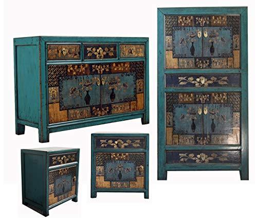 OPIUM OUTLET Chinesische Möbel Kombination Oceanflowers Shabby Chic Vintage Sideboard Kommode Hochzeitsschrank Nachtkästchen (Oceanflowers-4)
