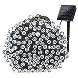 Qedertek Guirlande Solaire Extérieure, 20M 200 LED Guirlande Lumineuse Solaire Etanche, 8 modes d'éclairage Lampe Décoratives pour Jardin, Patio, Clôture, Anniversaire, Mariage (Blanc)