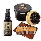 Bartpflegeset von Gold Lions I Set besteht aus Bartöl in Bio-Qualität + Bartkamm mit hochwertigem Etui + Bartbürste aus 100% Wildschweinborsten I + Gratis eBook I Zufriedenheitsgarantie