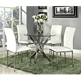 New Stunning Designer Glass Dining Set With 4 White Chairs Modern Furniture By Limitless Base