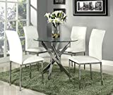 New Stunning Designer Glass Dining Set With 4 White Chairs Modern Furniture By Limitless Home