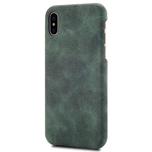 iPhone X Case,Genuine Leather Magnetic Case Cover per iPhone X (Blu) Verde