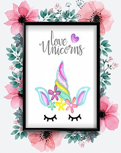 Love Unicorns Wimpern Mädchen Jungen Kinder Kinderzimmer Kunst Poster Wall, A4 (Small)