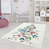 Kinderteppich Jugendteppich mit Pastellfarben, Modernes Schmetterling-Motiv für Kinder-/ Jugendzimmer in Pastellblau/-rosa Größe 200/290 cm
