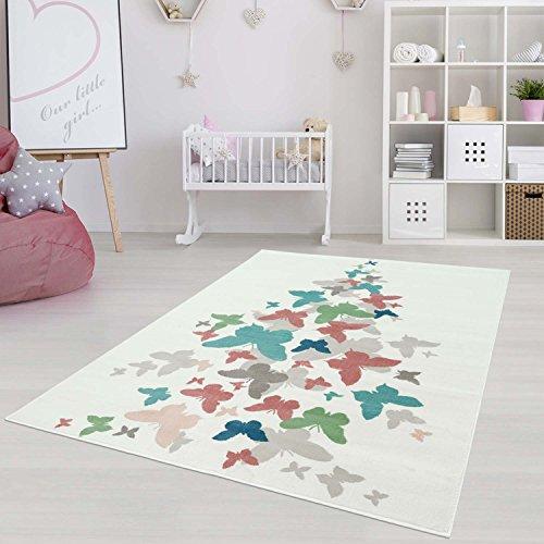 Kinderteppich Jugendteppich mit Pastellfarben, Modernes Schmetterling-Motiv für Kinder-/ Jugendzimmer in Pastellblau/-rosa Größe 160/230 cm