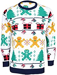 Mens Unisex Christmas Gingerbread man Reindeer Novelty Knitted Xmas Jumper (Mens 2XL, gingerbread man)