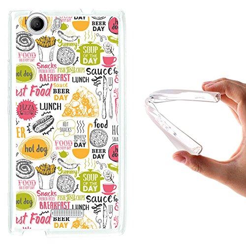 WoowCase Wiko Ridge 4G Hülle, Handyhülle Silikon für [ Wiko Ridge 4G ] Fastfood Handytasche Handy Cover Case Schutzhülle Flexible TPU - Transparent
