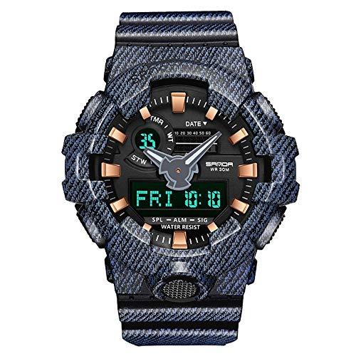 SHshou-L Elektronische Uhr wasserdichte leuchtende Männer Studenten Outdoor Sports Multifunktions Wecker Kalender Zeitanzeige Denim,Black