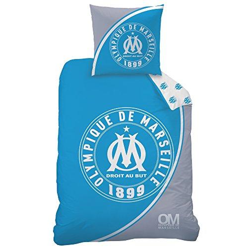 OM - Housse de Couette (140x200) + Taie d'oreiller (63x63) - Parure de Lit Olympique de Marseille