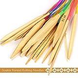 hermao Craft de punto de Tejido de hilo de ganchillo agujas de tejer de doble punta con tubo Circular tejer de bambú blanqueado de plástico de colores diferentes tamaño 80cm 2.0mm-10.0mm 18pares