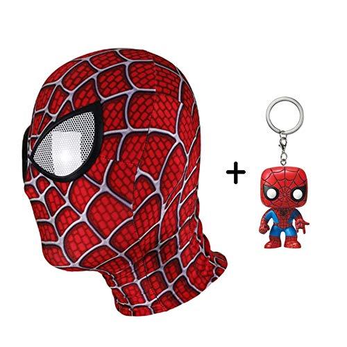 BGHKFF Spiderman Maske Kind Erwachsener Mottoparty Helm Halloween Cosplay Hüte Karneval Schminke Zubehör Kopfbedeckung + PVC Schlüsselanhänger,B (Lycra Gewebe Für Tanz Kostüm)