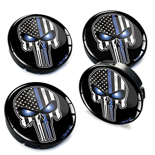 4 x 60mm Silikon Nabenkappen Kappen Skull Schädel USA Thin Blue Line Flag Blaue Linie Flagge Felgendeckel Radkappen Radnabendeckel Nabendeckel Auto Tuning C 77