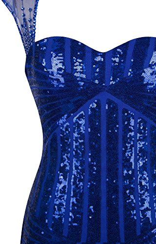 Angel-fashions Femme Sweetheart Sequin glands Cap manches robe de Cocktail Bleu royal