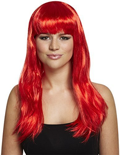Long 52cm Fringed Cosplay Katie Perry Wig - Blue, Red, Black or Pink (Red) by (Perry Katie Perücken)