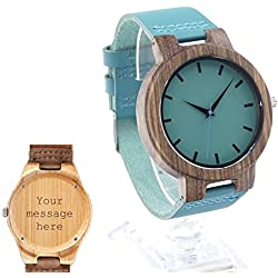 Custom Personalised Engraved Hand Bamboo Watch Natural Bamboo Wood Watch Gift for Groomsmen