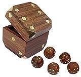 Gioco dei dadi indiano storage box box set di dadi del gioco di legno fatti a mano con 5 dadi - 7,6 x 7,6 x 7,6 cm