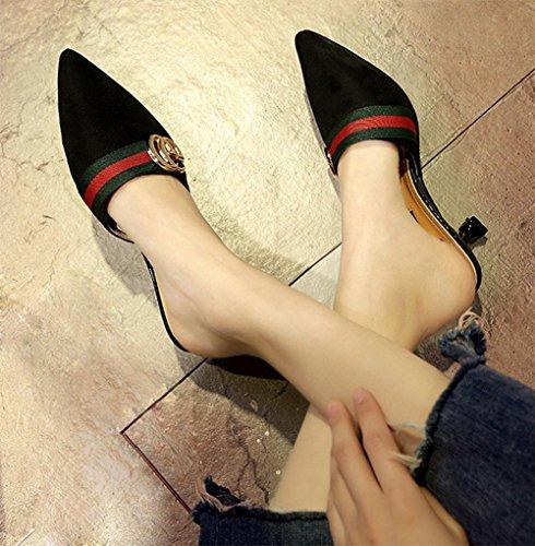 In scharfem Kopf mit fein mit Frauen Sandalen und Pantoffeln Fräulein Xia Ji Sandalen Black