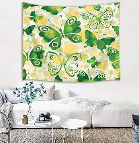 "TRUIOKO Fly Tapiz,Aniaml Tapiz Wall Hanging,Watercolor Green fies with Dreamlike Dots Wall Blanket Wall Hanging Wall Hanging for Bedroom Living Room Dorm Wall Tapiz Decor,80"" X 6"