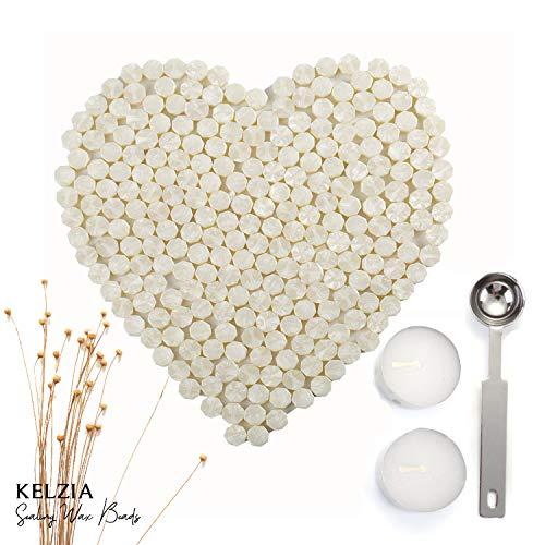 230 Stücke Siegellack Perlen Stempel Dichtung Stick Zubehör mit 2 Stücke Kerzen und 1 Stück Schmelzlöffel für Stempel Versiegelung (Weiß)