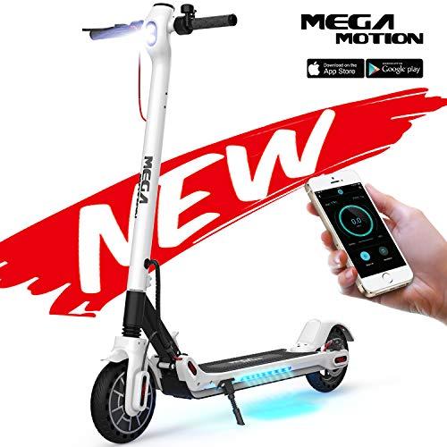 Mega Motion E-Scooter Klappbar Elektro Scooter Elektroroller Scooter Geschwindigkeit Erwachsene bis 30 Km/h 8.5 Zoll aufblasbares LCD-Display Tragbar Vorderen und Hinteren Rückleuchten(White)