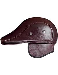 71d8115241f51 Insun Hombre Gorro Cuero de Aviador Sombrero de Invierno Boinas Gorras de  Béisbol