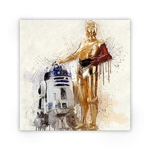 Zabarella Star Wars Star Wars C-3PO und R2-D2 Leinwand Bild auf Keilrahmen Pop Art Wandbild Wohnzimmer (80cm x 80cm) -