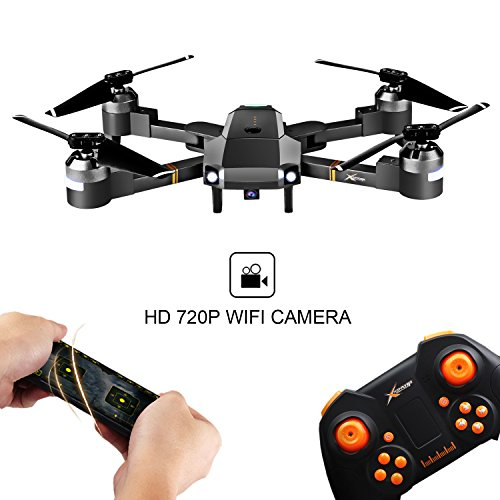 Cellstar Drone con Control Remoto Función de Estabilización de Altitud WiFi FPV 2.4Ghz Cámara HD Tarjeta SD 4G Funciones de Aterrizaje y Despegue y Alarma de Fuera Límite de Vuelo Antiperdida
