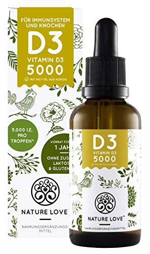 NATURE LOVE® Vitamin D3 - Mehrfacher Sieger 2019/2018* - 5000 IE pro Tropfen - Laborgeprüft - Premium: sehr hohe Stabilität. Flüssig in Tropfen (50ml). Hochdosiert, hergestellt in Deutschland